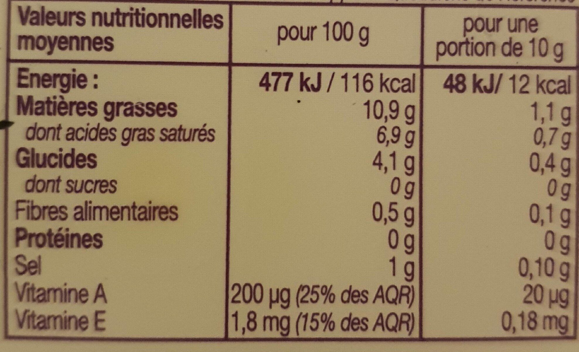 Si Léger 10% doux - Informations nutritionnelles - fr