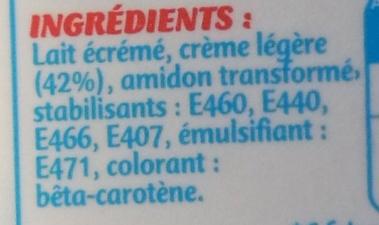 Fleurette - légère à 5% de M.G. - Ingrédients