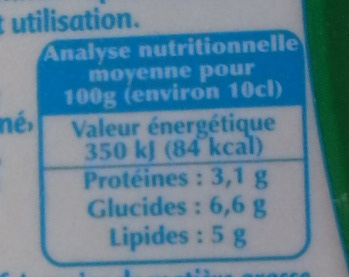Fleurette - légère à 5% de M.G. - Informations nutritionnelles