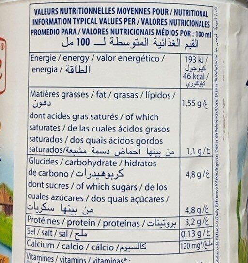 Lait demi ecrémé - Informations nutritionnelles - fr