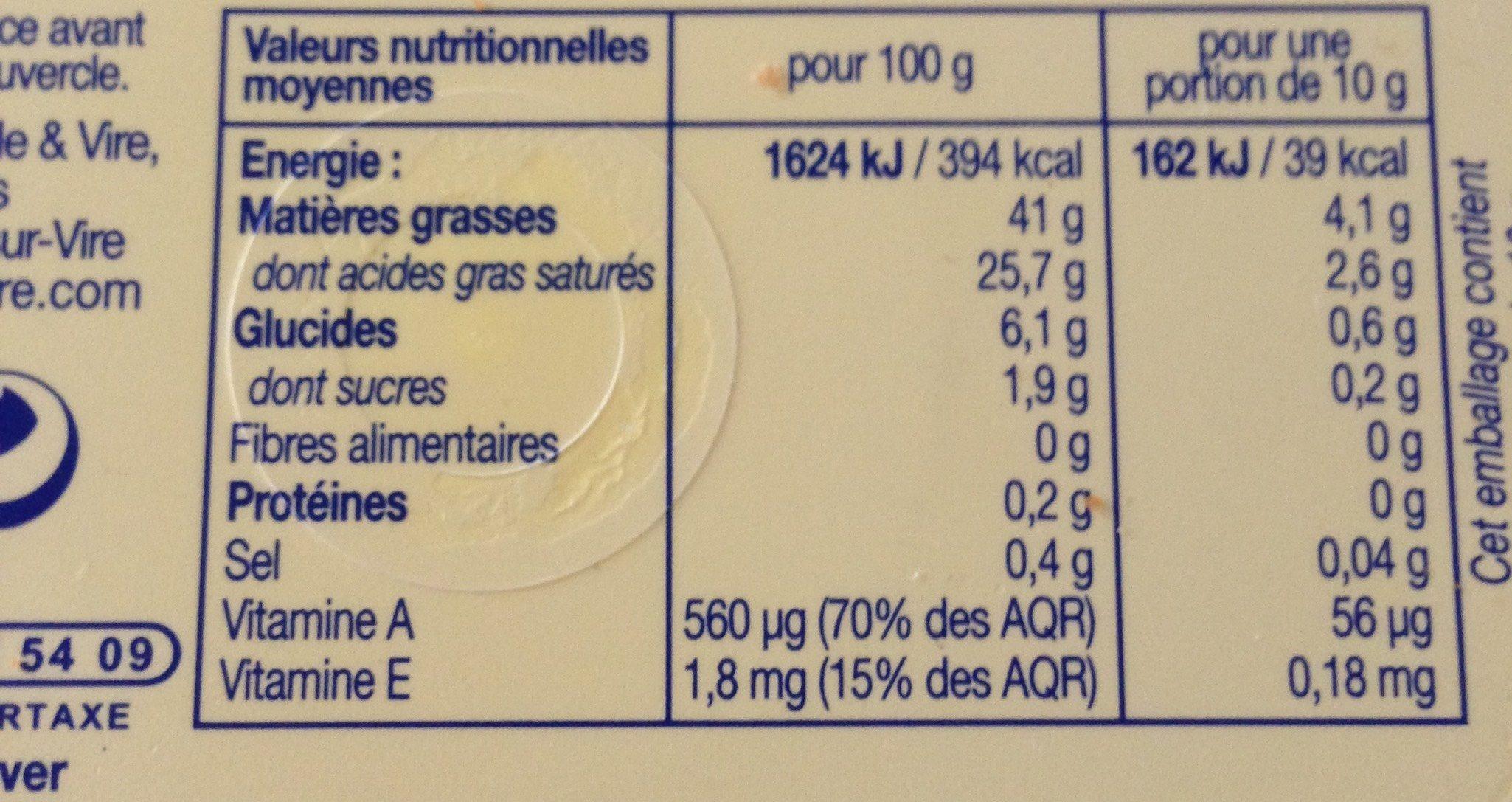 Elle & Vire Le Beurre Léger 41% Cuisson & Tartine - Informations nutritionnelles