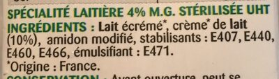 Crème Semi Épaisse - Ingrédients