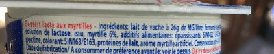 Dessert lacté aux fruits stérilisé UHT - Myrtilles - Ingredients - fr