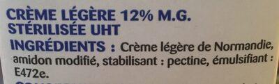 La Crème legère fluide en brique de Normandie - Ingrediënten - fr