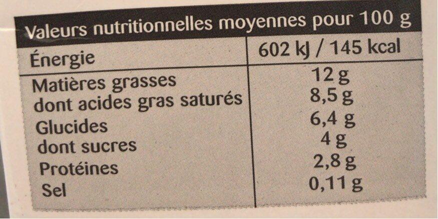 La Crème legère fluide en brique de Normandie - Voedingswaarden - fr