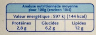 Crème légère épaisse - Informations nutritionnelles - fr