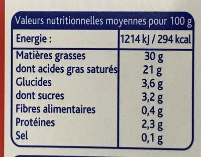 Crème entière épaisse - Informations nutritionnelles