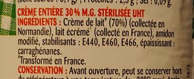 crème semi epaisse - Ingredients
