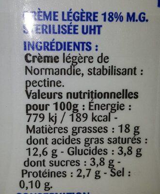 La Crème legère semi-épaisse en brique de Normandie - Valori nutrizionali - fr