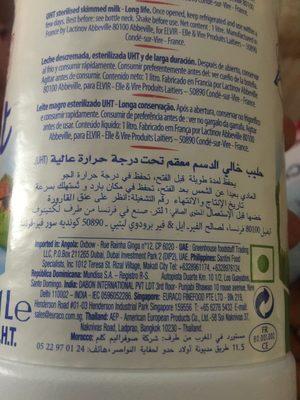 Elle & Vire Milk - Skimmed - Ingredients