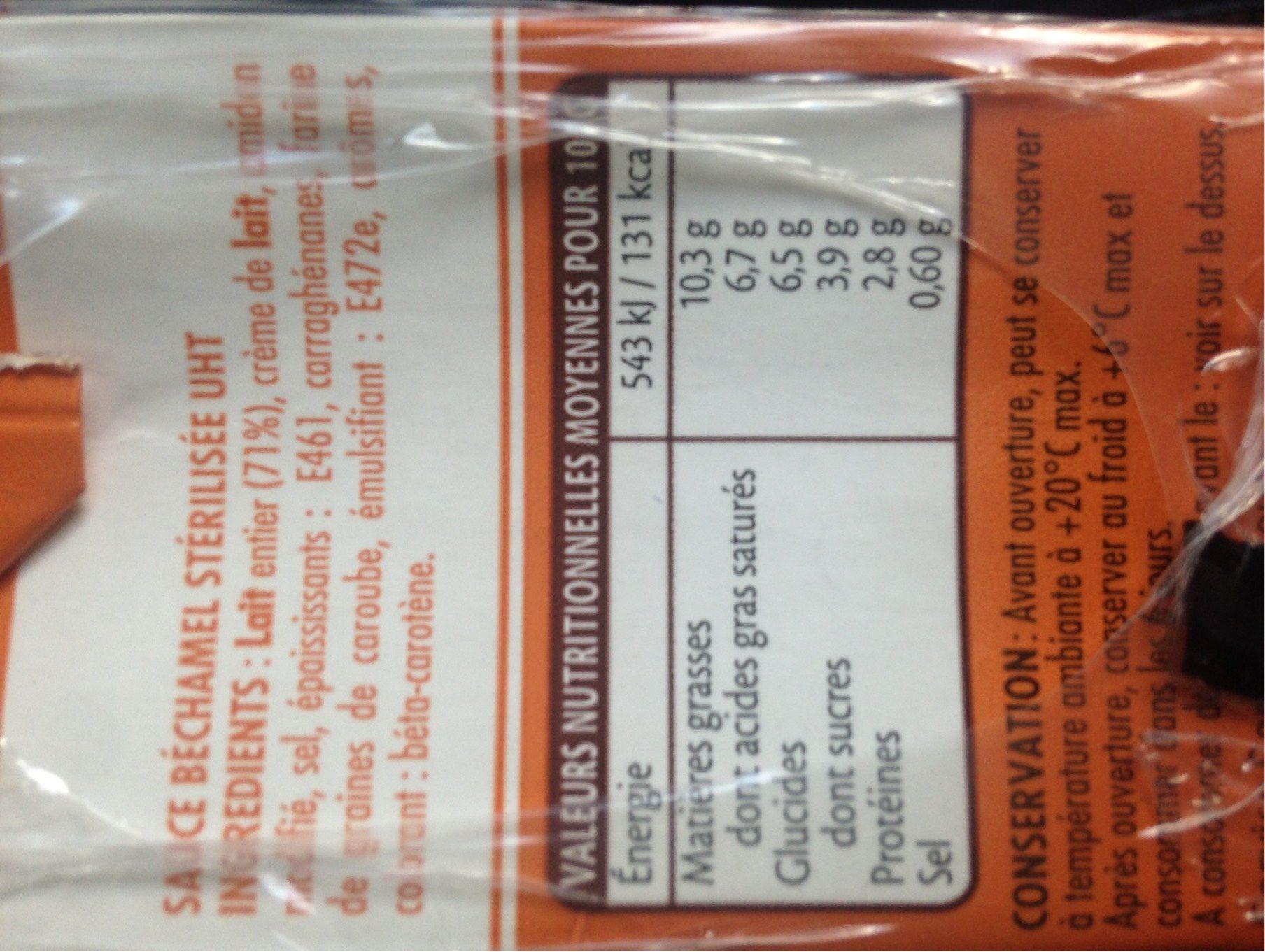La Sauce Béchamel UHT au lait entier en brique - Valori nutrizionali - fr
