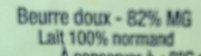 Beurre - Ingredients