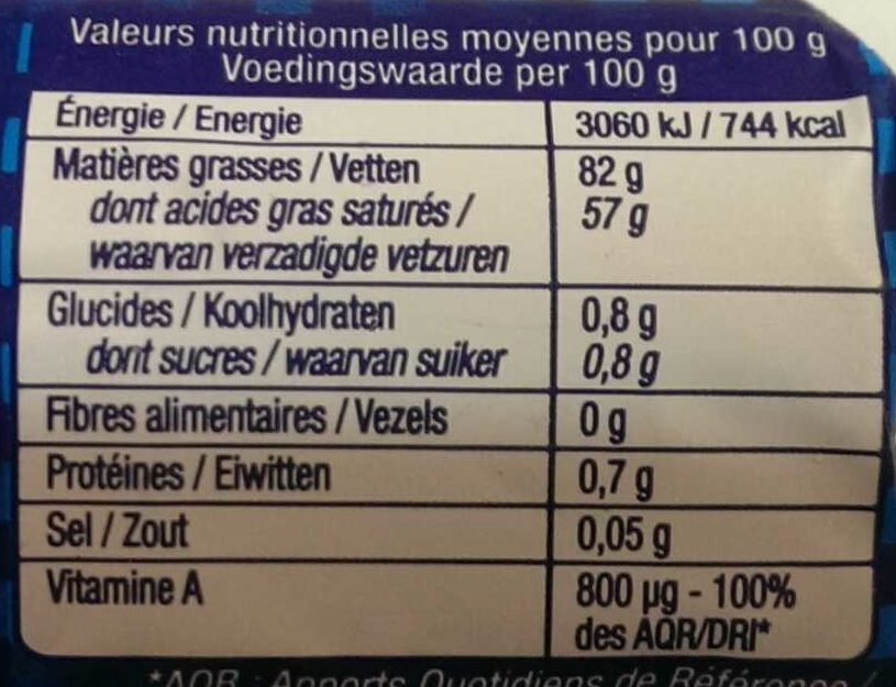 Le Beurre de Condé-sur-Vire doux - Voedingswaarden - fr