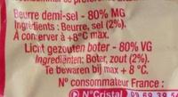 Beurre demi-sel Condé-sur-Vire - Informations nutritionnelles - fr