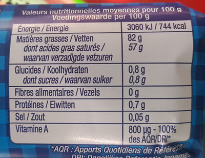 Le Beurre de Condé-sur-Vire doux - Nutrition facts - fr