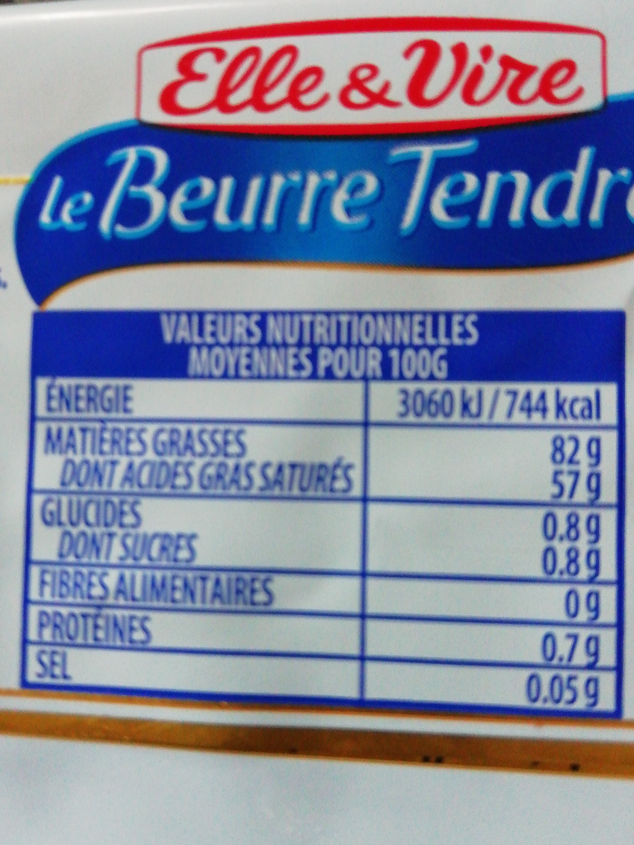 Le beurre tendre doux - Informations nutritionnelles - fr