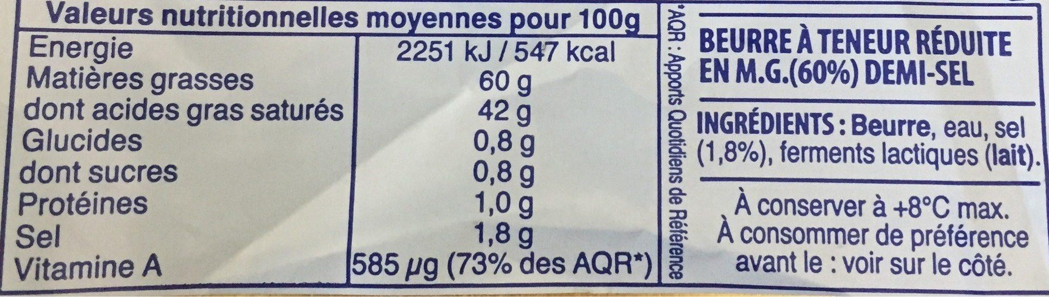 Beurre Demi-Sel Elle&Vire - Informations nutritionnelles - fr