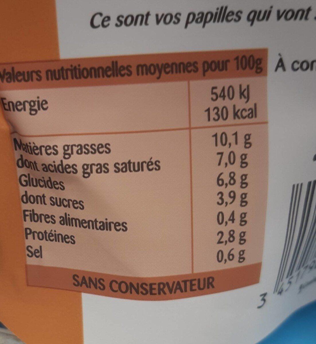 La Sauce Béchamel au lait entier en poche - Voedingswaarden - fr