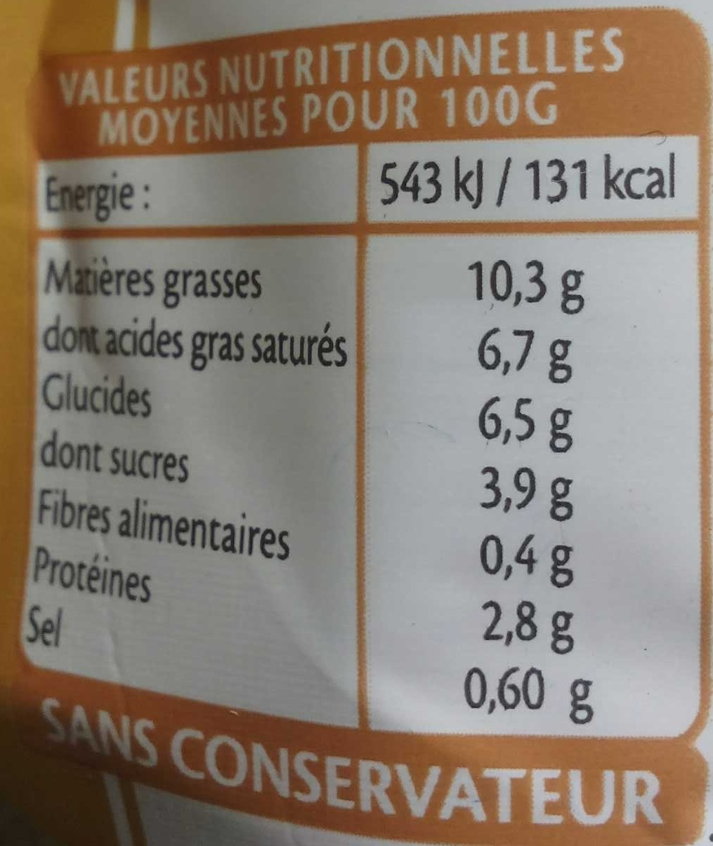 Sauce Béchamel - Voedingswaarden - fr