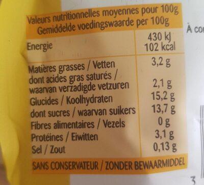 La Crème Anglaise à la vanille Bourbon en poche - Voedingswaarden - fr