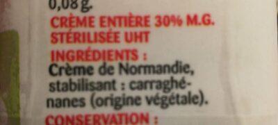 Crème entière - Ingredients