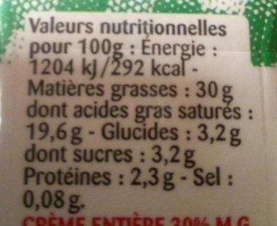 Crème entière - Nutrition facts