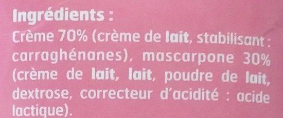 Sublime Crème Au Mascarpone - Ingrédients