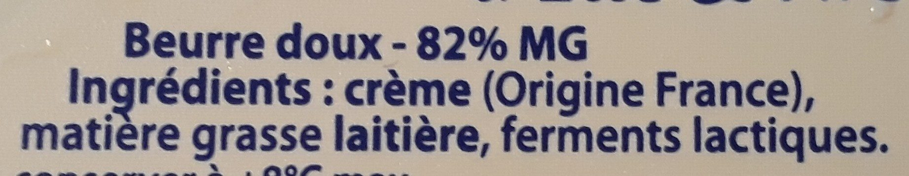 Le Beurre Tendre barquette doux - Ingredients - fr