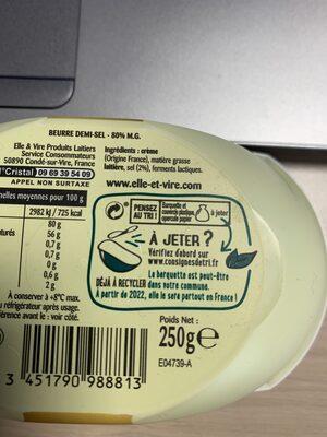 Le Beurre Tendre barquette demi-sel - Ingredienti - fr