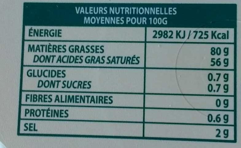 Le Beurre Tendre barquette demi-sel - Valori nutrizionali - fr