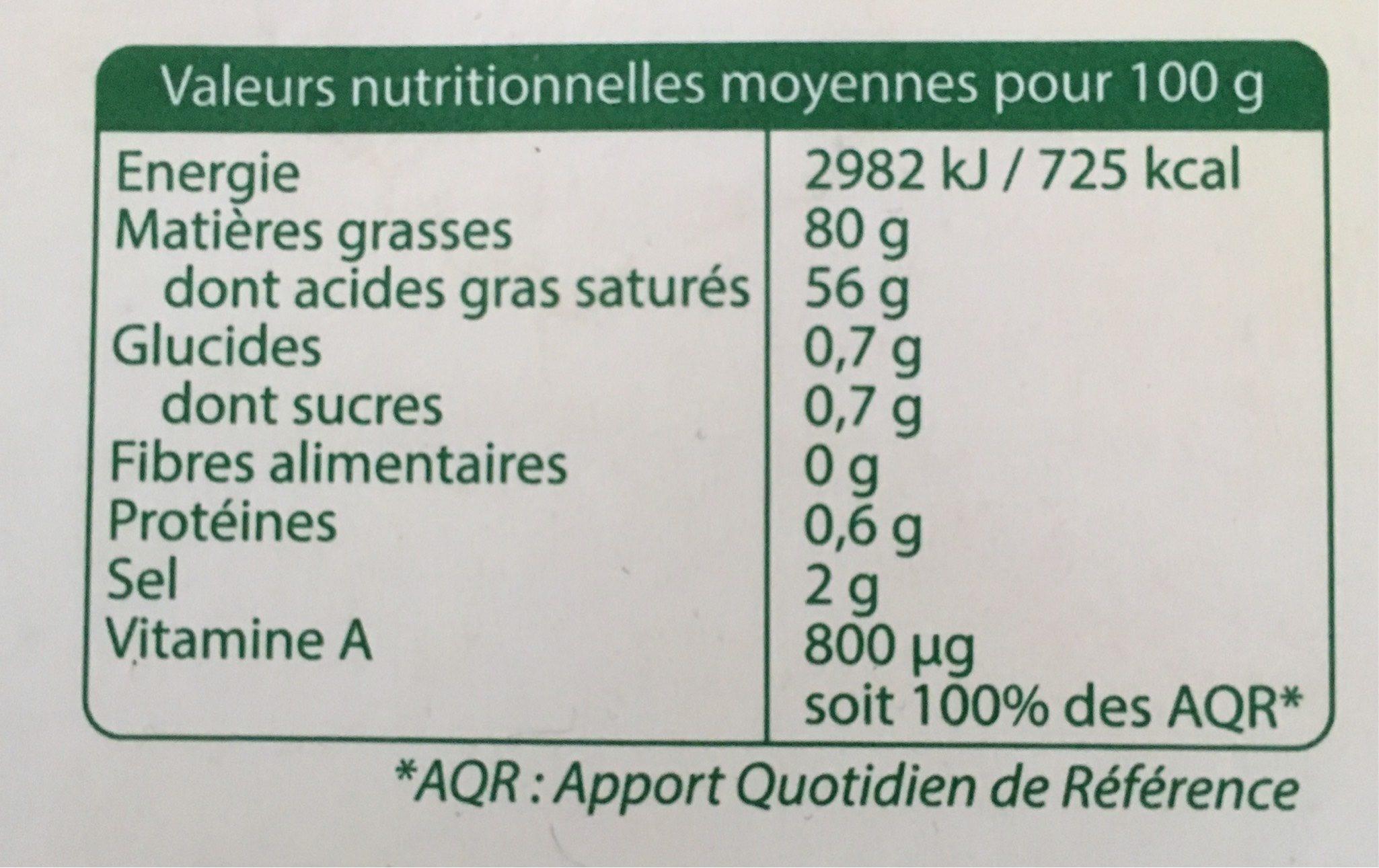 Les mini-beurres demi-sel - Voedingswaarden - fr