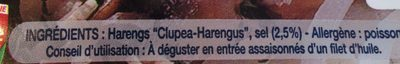 Filets de Harengs Fumés - Ingrédients - fr