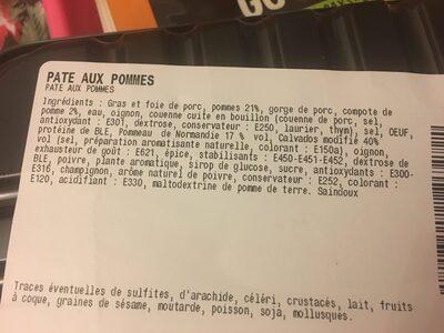 Pate aux pommes - Ingrédients - fr
