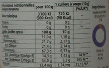 Huile de lin-orange - Informations nutritionnelles - fr