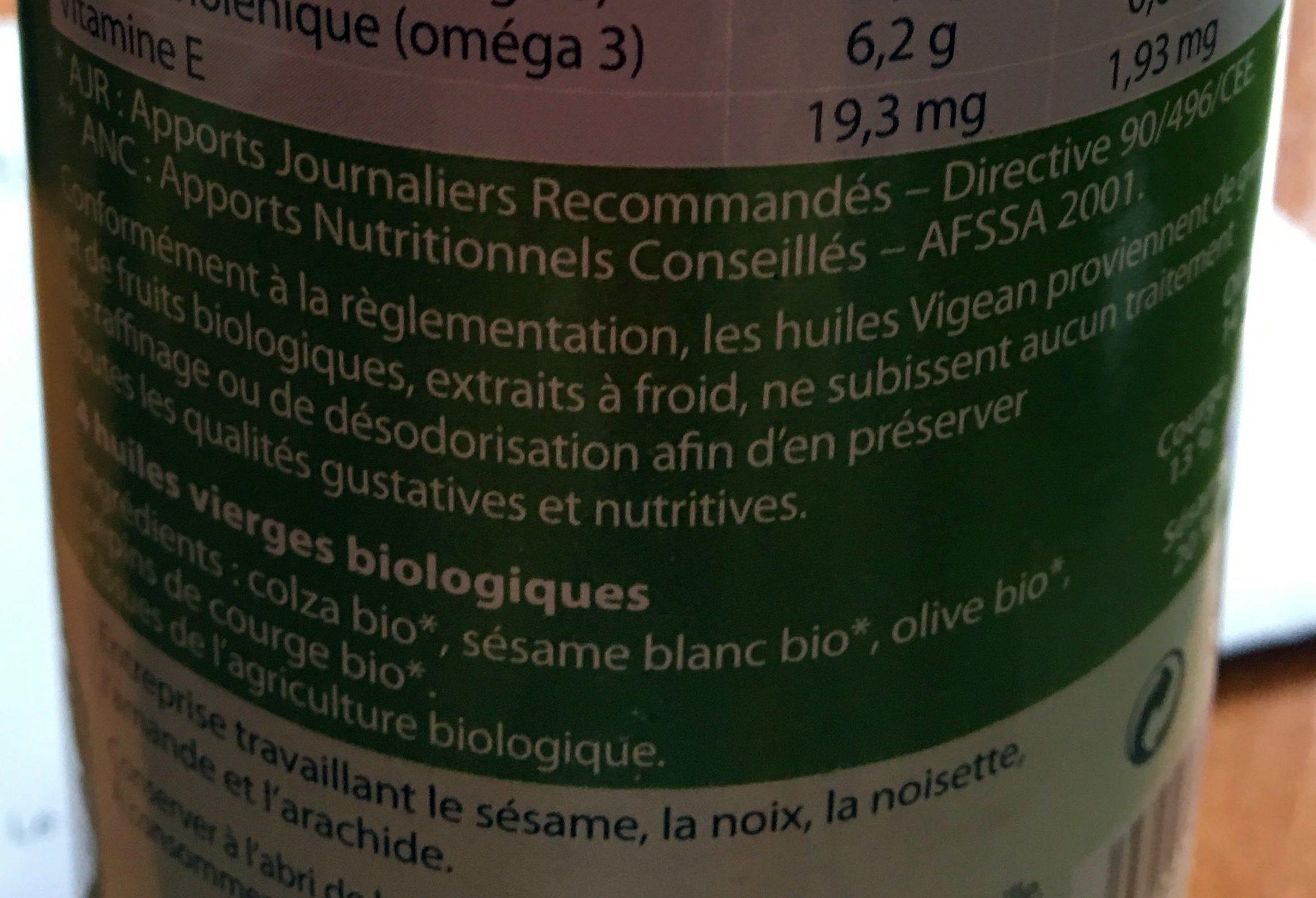 Huile de Pépins de courge Colza~Olive Sésame Première pression à froid - Ingredients