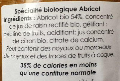 Confit de Provence abricot - Ingrédients