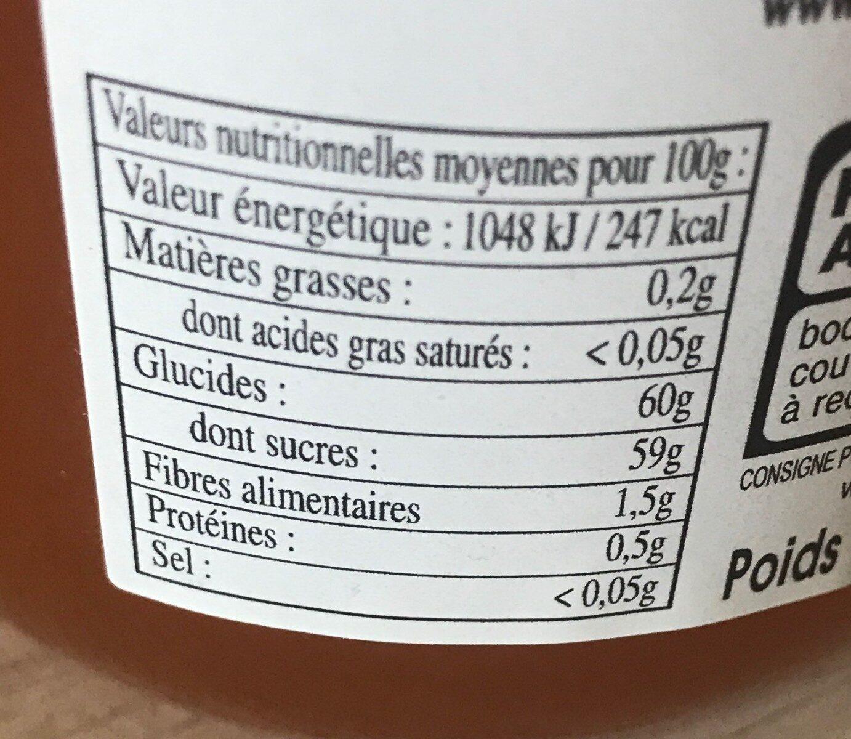 Confit de Provence abricot - Informations nutritionnelles