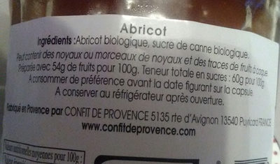 Confiture D'abricot - Ingredients