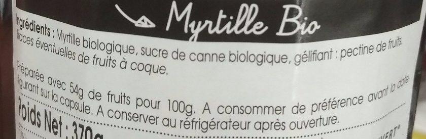 Confiture myrtille - Ingredientes