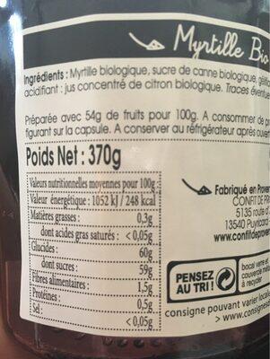 Confiture myrtille - Nutrition facts - fr