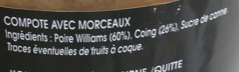 Poire Williams et Coing - Ingrédients