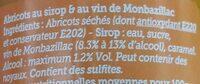Abricots Monbazillac - Ingrédients - fr