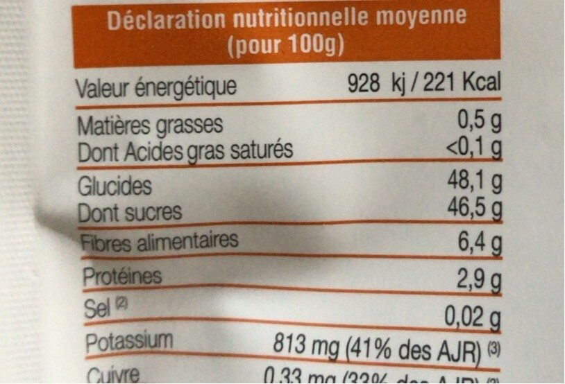 Abricots seches extra moelleux - Nutrition facts - fr