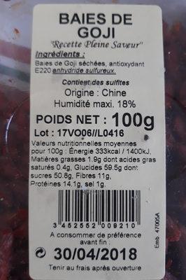 Baie de Goji - Ingrediënten - fr
