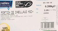 Filet de Cabillaud MSC - Ingredients - fr