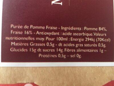 La Tendre Pomme Fraise - Informations nutritionnelles