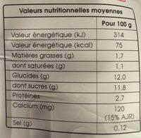 La Fontaine à Yaourt aux fraises mixées - Informations nutritionnelles - fr