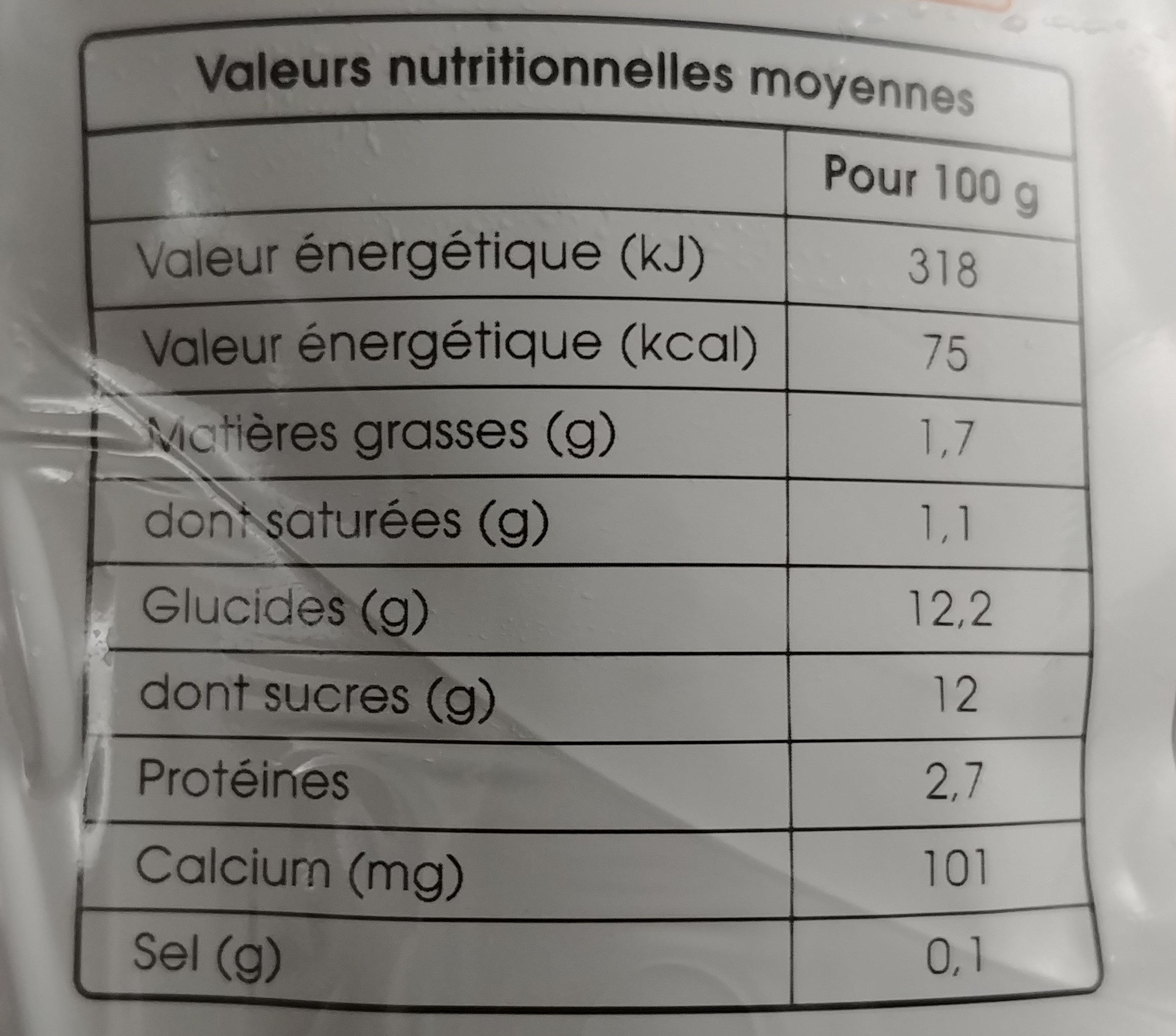 La fontaine à yaourt nectarine & abricot - Nutrition facts - fr