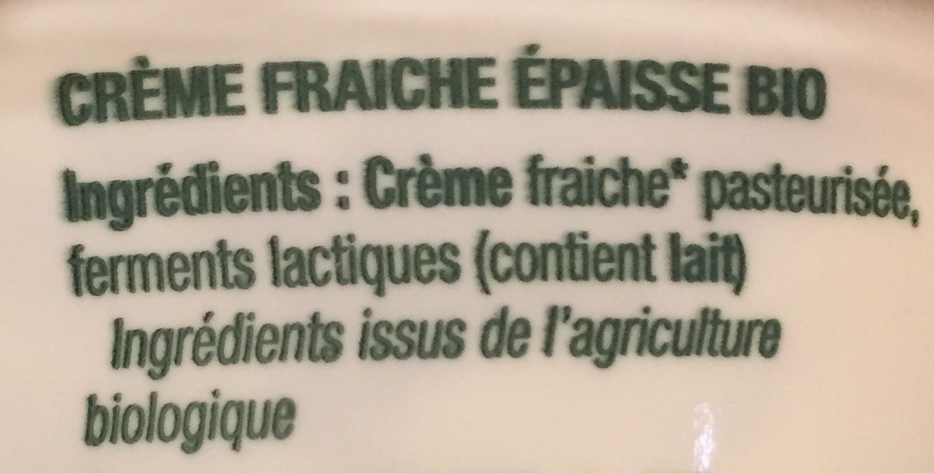 Crème fraîche épaisse bio - Ingrediënten