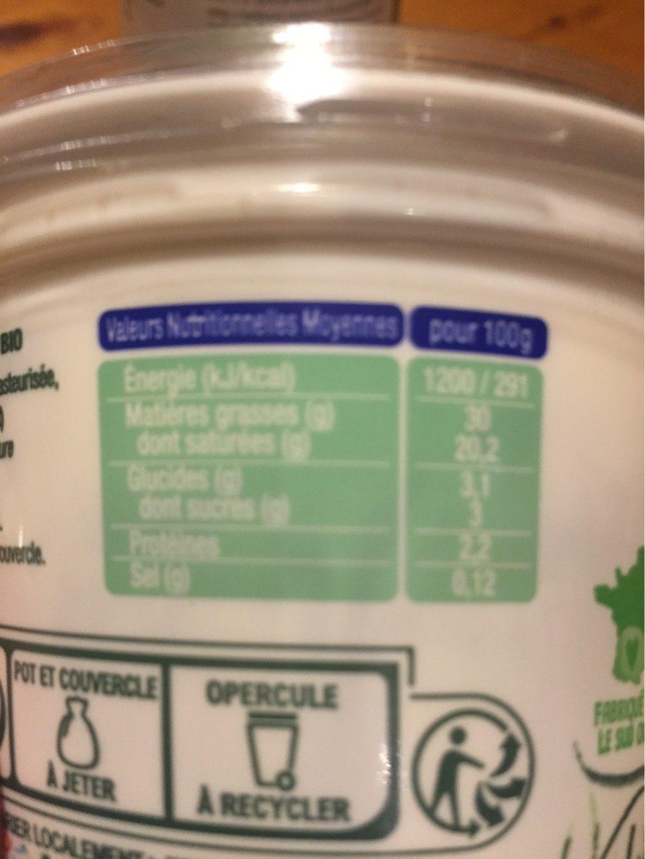 Crème fraîche épaisse bio - Voedigswaarden